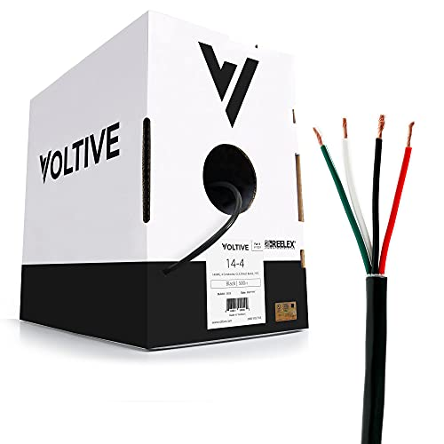 Voltive 14/4 Speaker Wire - 14 AWG/Gauge 4 Conductor - UL Listed in Wall (CL2/CL3) and Outdoor/In Ground (Direct Burial) Rated - Oxygen-Free Copper (OFC) - 500 Foot Bulk Cable Pull Box - Black