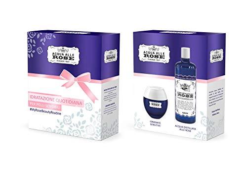 Acqua alle Rose Cofanetto Crema Idratante Sensitive e Tonico Acqua Distillata alle Rose, Kit per Pelli Sensibili con Vitamina B5, Ottima per Mantenere la Pelle Giovane e Idratata