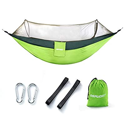 Outdoor camping hammock, upgraded 2-in-1, camping for trees, small objects blocking mesh, bearing 661 pounds, flip-type light portable hammock, suitable for camping, backpacking, survival, travel, etc