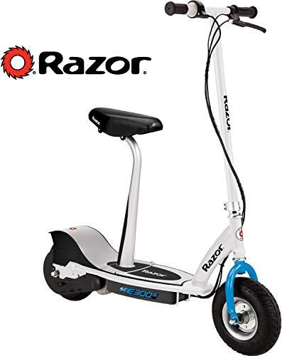 Razor E300S Scooter Eléctrico de Adulto con Asiento, Patín Eléctrico Adulto, Patín Eléctrico, Asiento - Blanco con Azul