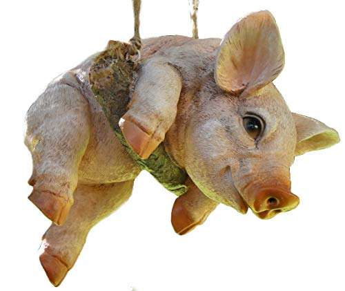 Animal Crackers Hanging Piglet on rope novelty tree garden ornament decoration Pig lover gift