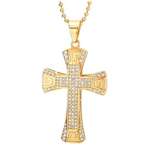 COOLSTEELANDBEYOND Acero Color Oro Colgante de Cruz con Circonita Modelo Dominante Griego, Collar de Uomo Mujer, Cadena de Bola 75CM