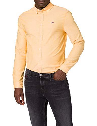 Tommy Jeans Herren TJM Slim Stretch Oxford Shirt Hemd, Orange-Florida Orange, L