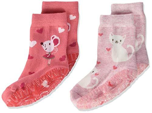 Sterntaler Mädchen Glitzer-flitzer Air Sterne Socken, 2er Pack, Mehrfarbig (rosa), 20