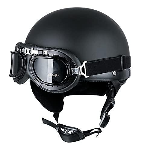 Helmets Casco Moto Jet ECE Homologado -Classic Casco Moto con Gafas Casco Moto Abierto Custom Scooter Ciclomotor Casco para Mujer Hombre Adultos Retro Casco Moto A,L=59~60CM