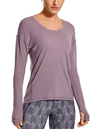 CRZ YOGA Damen Mujer Ropa Deportiva Yoga Shirts Camiseta Manga Larga Brezo púrpura 44