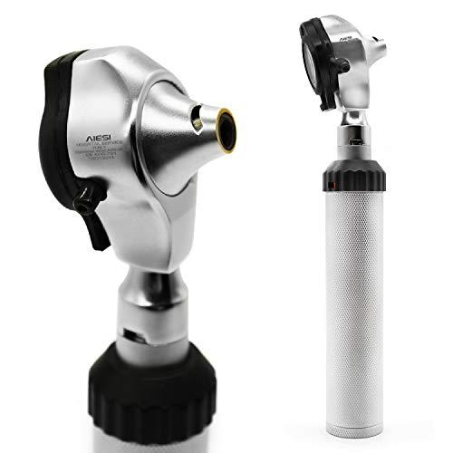 AIESI® Otoscopio médico profesional de acero inoxidable fibra optica con iluminación LED 3V de luz blanca DOCTOR VISIOSCOPE # 24 meses de garantía