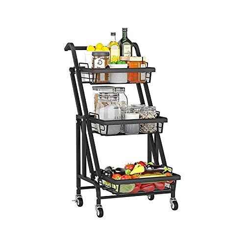 XTZJ Carrito de la cocina plegable de 3 niveles, carro de la utilidad de laminación con mango, estante de almacenamiento con ruedas, carro de servicio de carretilla de almacenamiento, estante de almac
