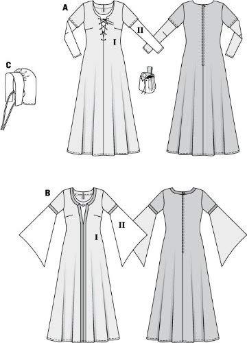 Burda Schnittmuster 7468 Mittelalter Kleid & Haube Gr. 36-54