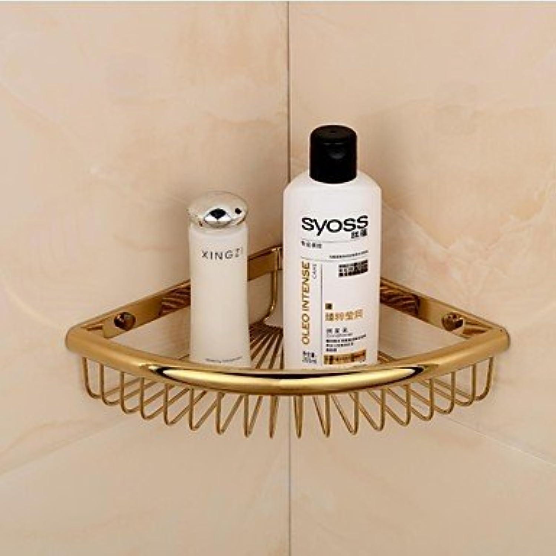 LI golden Finish Triangle Single Shelves Brass Material Wall-mounted Bathroom Soap Basket