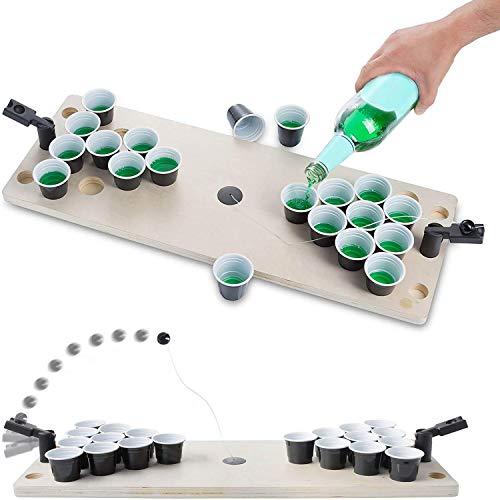 GOODS+GADGETS Mini Beer-Pong Spiel für Jede Party; Bier-Pong Spiel-Tisch mit Getränke Bechern für Shot-Pong Matches; Komplett-Set aus Holz; 60 x 22 x 8 cm