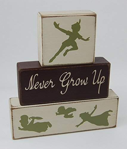 Peter Pan-Never Grow Up - Primitive Country Wood Stacking Sign Blocks-Nursery Room-Baby Shower Centerpiece-Baby Gift-Peter Pan Birthday Centerpiece Boys and Girls