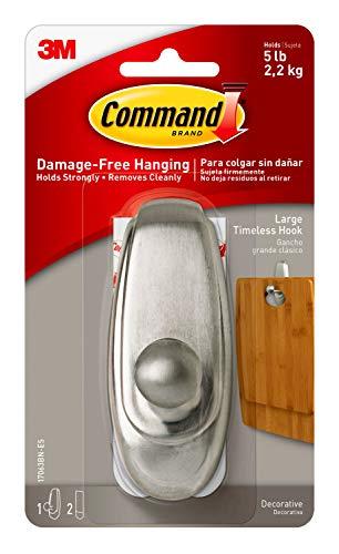 Command Large Timeless Hook, Brushed Nickel, 1-Hook, 2-Strips, Decorate Damage-Free