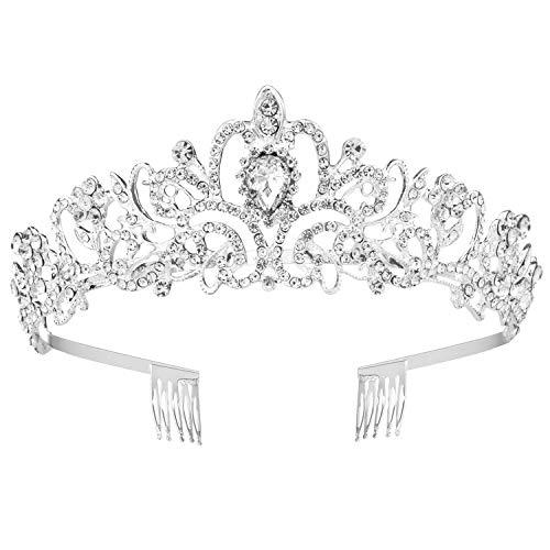 WolinTek Corona Nupcial de Boda, Diadema Corona Tiara con Peine Hairband de Cristal Diamantes de imitación Fiesta Boda Novia Niña Princesas Partido decoración en Fiesta cumpleaños (Plata)