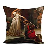 Topyee Throw Pillow Cover 16x16 Inch Painting Accolade by Edmund Blair Portrait Knight Queen Princes Home Decor Pillowcases Square Pillow Cases Cushion Covers for Sofa Couch Bed