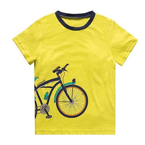 KiD1234 Jungen T-Shirt Sommer Kurzarm Baumwolle Rundhals Kinderkleidung Einfarbig Hecke Geschenk für Kinder & Jugendliche Gelb 9-10 Jahre