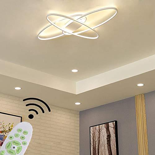 LED Deckenleuchte Oval Design Wohnzimmerlampe Dimmbar 3000K-6500K Helligkeit Einstellbar/Farbe Schlafzimmer Fernbedienung Deckenlampe Chic Acryl-Panel Pendelleuchte Esszimmer Küche Flur Lampen (Weiß)