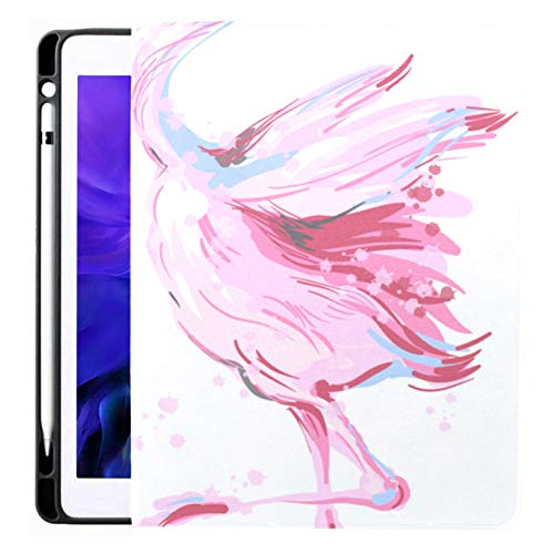 Ipad Pro 12.9 Case 2020 & 2018 with Pencil Holder Two Beautiful Pink Flamingos Dancing Honeymoon Smart Cover Ipad Case, Supports 2nd Gen Pencil Charging,case for 2020 Ipad Pro 12.9 Cover with Auto Sl
