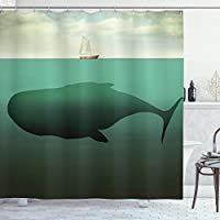 "Ambesonne Fantasy Shower Curtain, Surreal Giant Whale in The Middle of Sea and Little Sailboat on The Surface Print, Cloth Fabric Bathroom Decor Set with Hooks, 70"" Long, Green Beige"