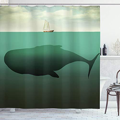 ABAKUHAUS Duschvorhang, Riesiger Wal in der Mitte des Meeres & EIN Kleiner Segelboot auf der Oberfläche als Druck, Blickdicht aus Stoff inkl. 12 Ringe für Das Badezimmer Waschbar, 175 X 200 cm