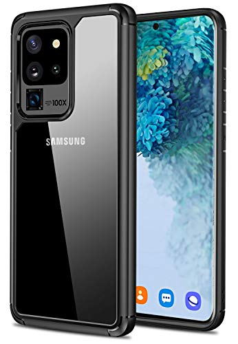 SunRemex Designed for Galaxy S20 Ultra Case, Clear Back Cell Phone Cases, Heavy Duty Military Grade Shockproof Drop Protection Cover for Samsung Galaxy S20 Ultra 2020 (Clear/Black)