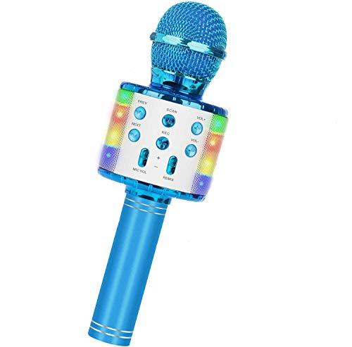 Drahtloses Bluetooth-Karaoke-Mikrofon, tragbarer 5-in-1-Handheld-Mikrofon-Lautsprecher-Player-Recorder mit steuerbaren LED-Leuchten, einstellbares Remix-FM-Radio (Blau)