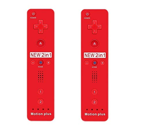 SIBIONO - Wii Remote Motion Plus Controller (2 Packs) for Nintendo Wii&Wii U Video Game Gamepads. (Red)