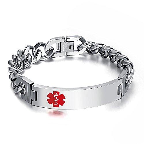 Vnox Damen Herren Medizinisches Notfall-Armband, Edelstahl, silberfarben, 21cm Länge, 10mm, gravierbar