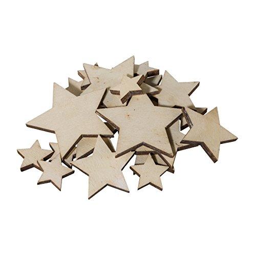 creativ home Holz- DEKOSTREU Stern 20 Teile. Ca 7/5 / 3 cm. Ca 20 Holzsterne, Sterne. Natur -69