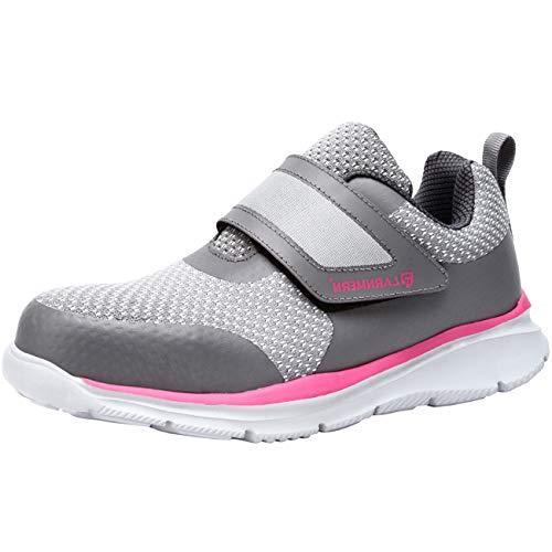 [LARNMERN] 安全靴 ベルクロタイプ メンズ おしゃれな安全靴 軽量 衝撃吸収 通気性 耐滑底 スニーカー ワーク 鋼鉄芯入り 反射材付 ファスナー マジックテープ 作業靴 ナースシューズ (グレーピンク,25.5cm)