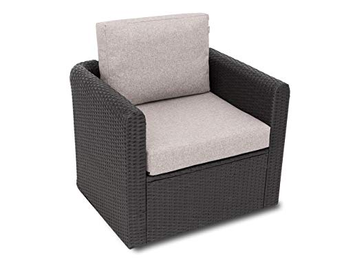 Kissen Set für Rattan / Korbsessel, Rückenlehne Sitz, Sitzkissen Outdoor Sitzpolster Gartenstuhl , Sitzauflage Rattan-Stuhl, 60x55x40 cm - Cappuccino
