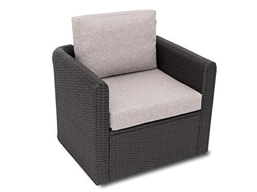 Miatech - Cuscino per sedia in rattan, mobili da giardino Technorattan, interno ed esterno, 60 x 55 cm, colore: Cappuccino