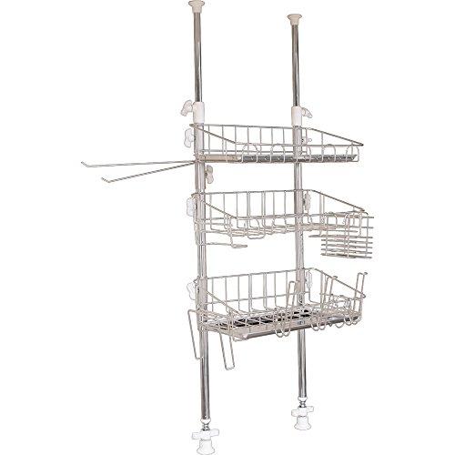 アイリスプラザ キッチンラック シルバー 37.5×18×69~110cm スリム 3段 ステンレス製 国産 燕キッチンシリ...