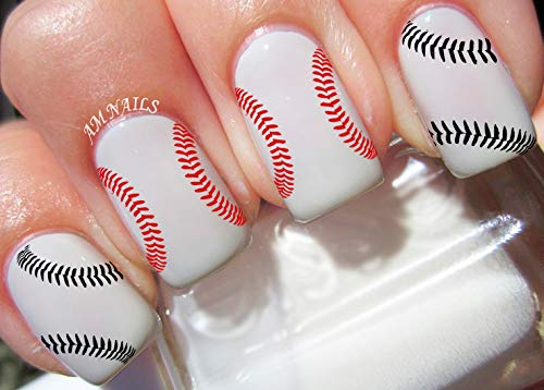 Baseball Stitches Water Nail Art Transfers Stickers Decals - Set of 26