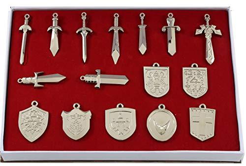 Mesky EU La Leyenda de Zelda Keychain 16 Piezas con Caja Espadas Escudos Accesorios Aleación Regalo Colección Vintage para Fans de Videojuego