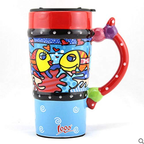 zhqingyu Moda Pintada de Azul Colorida Taza de cerámica Piscis con Tapa y Cuchara Taza de café Taza de Gran Capacidad 550 ml