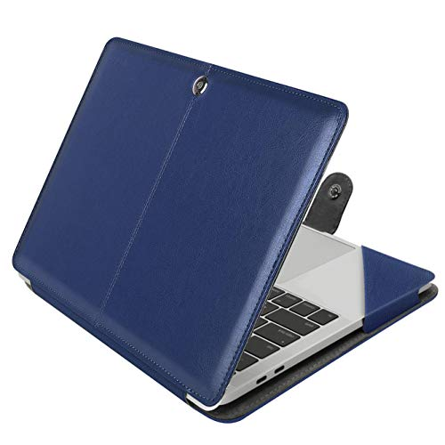 MOSISO MacBook Pro 15 inch Case, PU Leather Book Folio Protective Stand Cover Sleeve with Clear Strip Compatible with 2019 2018 2017 2016 MacBook Pro 15 Inch with Touch Bar A1990/A1707, Navy Blue