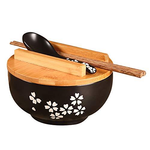 YULIN Japanische Ramen Schüssel Set,Vintage Keramik Instant Nudel Schüssel Stäbchen mit Holz Bezug, LöFfel Holz & EssstäBchen,1200Ml