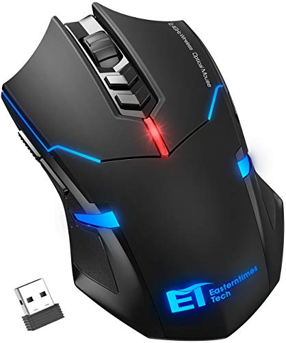 VicTsing Wireless Mouse Ergonomic Gaming Mice with [Silent Click] [LED Backlight] [7] [Adjustable 2400 DPI] [Nano Receiver] for Game PC Laptop Computer Mac (Black)