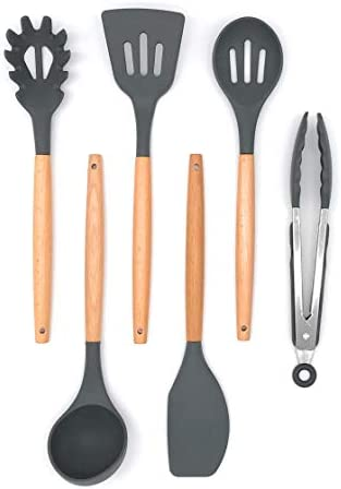 6 Piece Silicone Cooking Utensil Kitchen Set With Tongs Grey with Hardwood Handle Kitchen Utensils product image