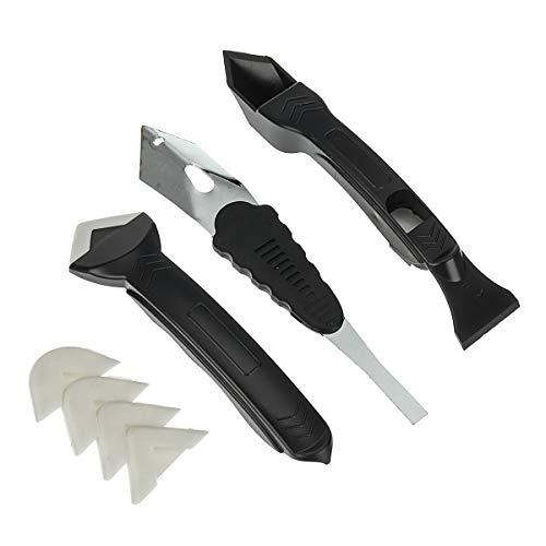 MOUNTAIN MEN Herramientas profesionales, 7PCS calafateo Kit de herramientas de sellador de acabado liso raspador de lechada herramientas Conjunto de boquilla del pegamento del azulejo de la suciedad d