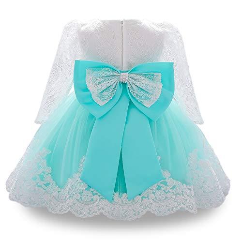 WOCINL Vestido tutú de manga larga para bautizo y bautizo, para princesa, boda, cumpleaños, fiesta de bautismo, vestido tutú