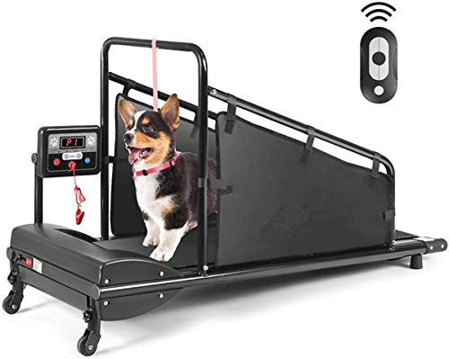 Goplus Dog Treadmill, Pet Running Machine for Small/Medium-Sized Dogs Indoor Exercise, Pet Fitness Equipment with Remote Control and 1.4'' Display Screen (Black)