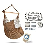 XXL Hammock Chair Swing by Hammock Sky - for Patio, Porch, Bedroom, Backyard, Indoor or Outdoor - Includes Hanging Hardware and Drink Holder (Iced Coffee)
