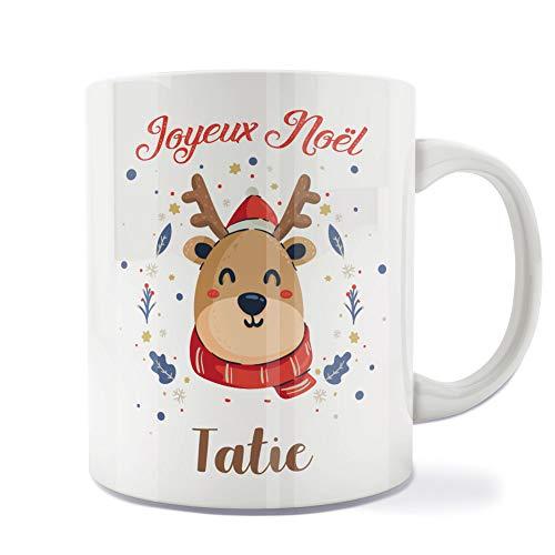 Mug | Tasse | Café | Thé | Petit-déjeuner | Vaisselle | Céramique | Original | Imprimé | Message | Fêtes | Idée cadeau | Renne de Noël - Joyeux Noël Tatie