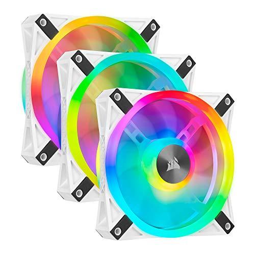 Corsair iCUE QL120 RGB, Ventilador LED RGB , 102 LED RGB Direccionables Individualmente, De Hasta 1500 RPM, Silencioso, Amortiguadores Antivibraciones, Paquete Triple con Lighting Node CORE , Blanco