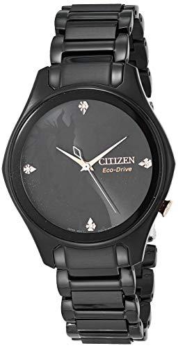 Citizen Eco-Drive Disney Reloj de cuarzo para mujer, acero inoxidable, maléfico, negro (Modelo: EM0595-51W)