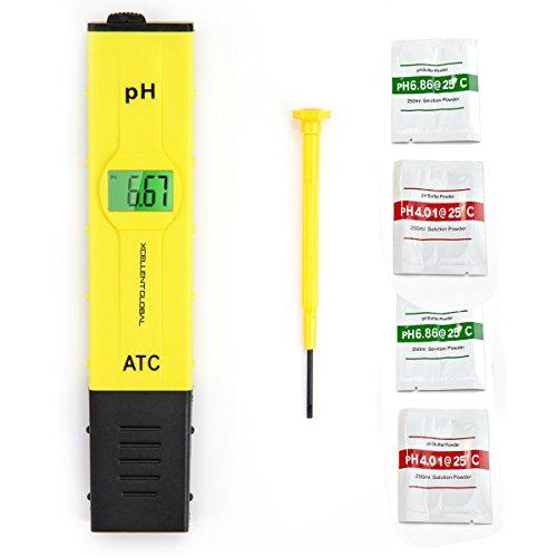 Xcellent Global Testeur PH Haute Précision PH-mètre avec ATC (0~50 degrés) et LCD rétro-éclairé Jaune M-HG076