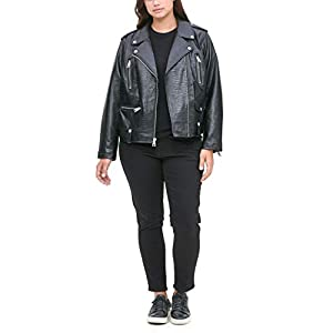Levi's Women's Plus Size Faux Leather Contemporary Asymmetrical Motorcycle Jacket, black croc, 2 X