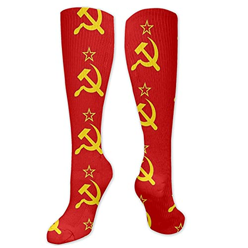 USSR Hammer and Sickle CCCP retro Russian Soviet Flag Socks Adult Knee High Thigh High Socks Compression Socks 19.7 Inch Men Women Athletic Long Stockings Gift